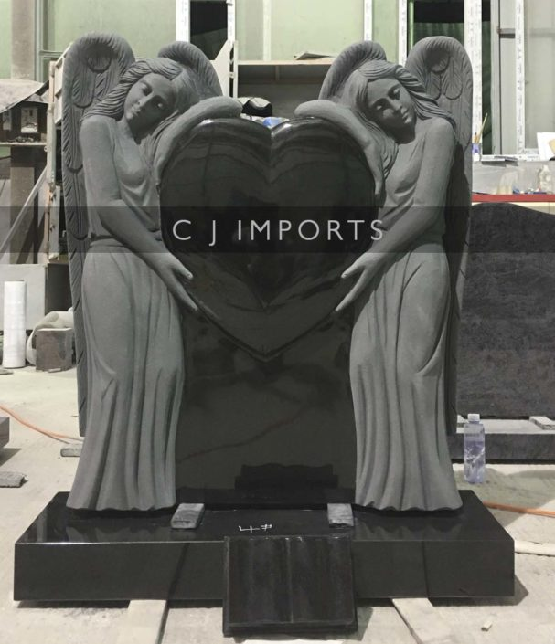Double Angel Heart Headstone