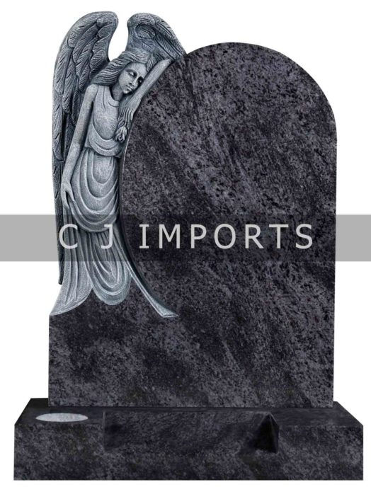 Angel Headstone Memorial Bahama Blue