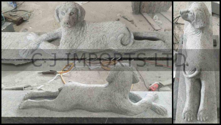 Dog Carved in Granite Memorial