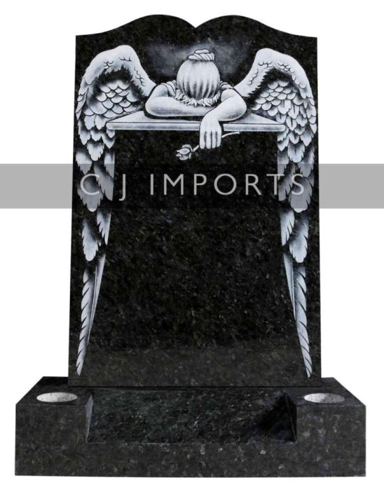 Angel Design Mourning Emerald Pearl Memorial Headstone